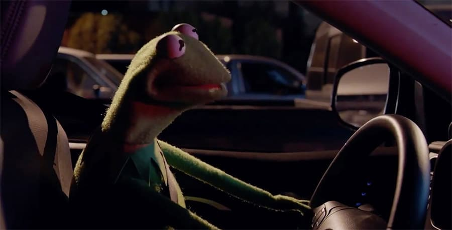 Kermit the Frog Driving a Car