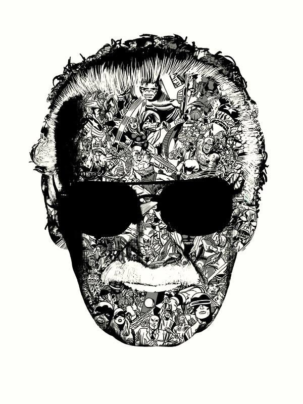 Stan Lee Man of Many Faces BW Print by Raid71