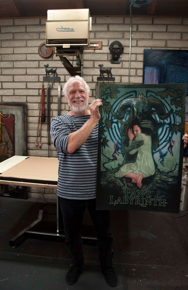Drew Struzan Holding His Pan's Labyrinth Print